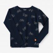 高密度ミラノリブ 型ぬき長袖Tシャツ/チャリンチャリンあっちこっち 群青色(ぐんじょういろ)