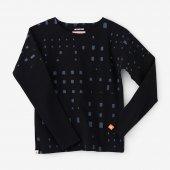 高密度ミラノリブ 型ぬき長袖Tシャツ/窓 深紺(まど しんこん)