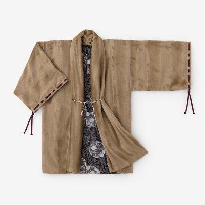 フェイクファー 宮中袖 間 袷(きゅうちゅうそで けん あわせ)/狐色×草紋(きつねいろ×そうもん)