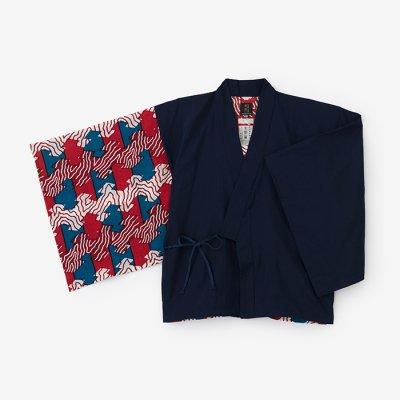 モスリン 角袖風靡 片身替わり/濃紺×松皮菱(のうこん×まつかわびし)