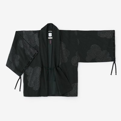 テンセル 宮中袖 短衣 単(きゅうちゅうそで たんい ひとえ)/雲間に菊 深緑色(くもまにきく しんりょくしょく)