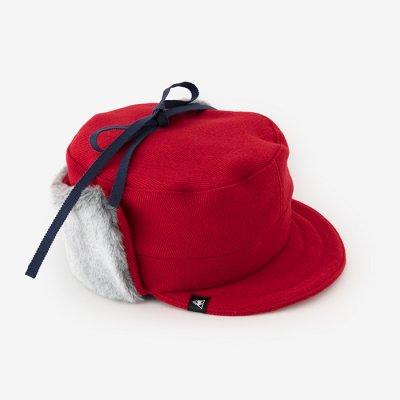 ウールヘリンボーン ボア BIKE CAP/緋色(ひいろ)×SO-SU-U昆(こん)