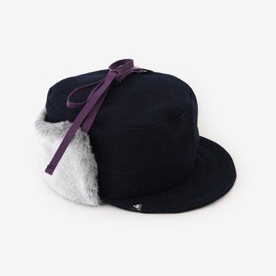 ウールヘリンボーン ボア BIKE CAP/濃紺(のうこん)×SO-SU-U昆(こん)