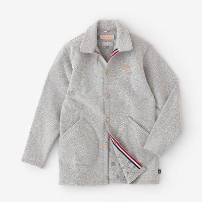 圧縮メランジブークレ 5BLS衿付きカーディガン 裏勝り(うらまさり)/灰白色×窓(かいはくしょく×まど)