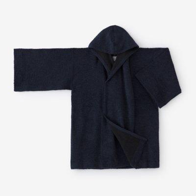 紡毛 添毛編 頭巾外套(ぼうもう てんもうあみ ずきんがいとう)/青褐(あおかち)
