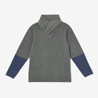 カシミヤ 違い袖衿巻/杢灰身頃2(もくはいみごろ)