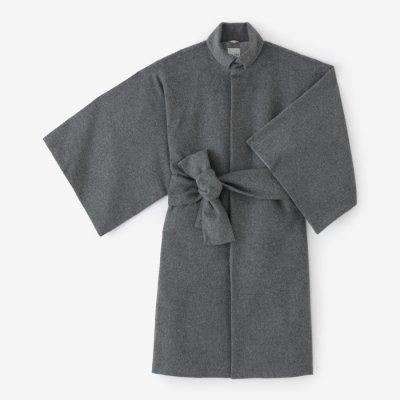 ウールフランネル 角袖外套 袷(かくそでがいとう あわせ)/杢墨(もくずみ)