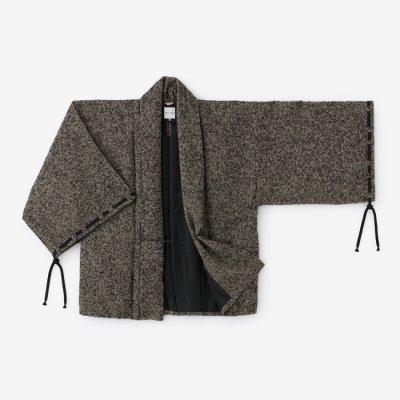 ツイード 宮中袖 短衣 袷(きゅうちゅうそで たんい あわせ)/濡羽金杢(ぬればきんもく)