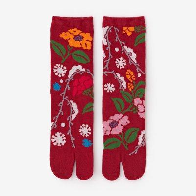 足袋下(普通丈)/雪持柳に椿(ゆきもちやなぎにつばき) 【男・女性用】