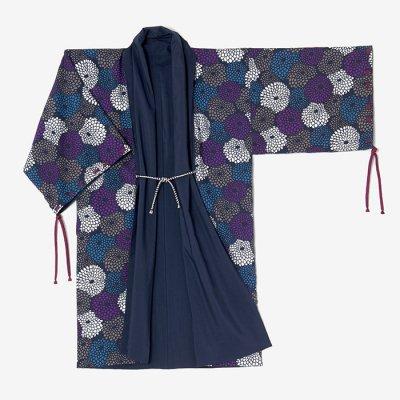 モスリン 宮中袖 袷(あわせ)/濃紺(のうこん)×菊づくし 夜来(よごろ)