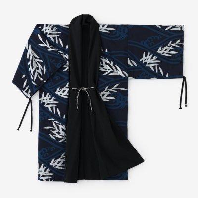 モスリン 宮中袖 袷(あわせ)/濡羽色×流水紋に芦(ぬればいろ×りゅうすいもんにあし)