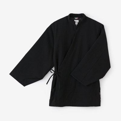 梳毛 手柄作務衣 袷(そもう たかみさむえ あわせ)/濡羽色(ぬればいろ)