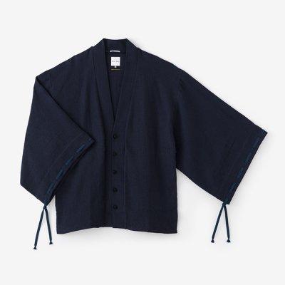 綿麻 舶来織 伯爵羽織 宮中袖(めんあさ はくらいおり はくしゃくばおり きゅうちゅうそで)/濃紺(のうこん)