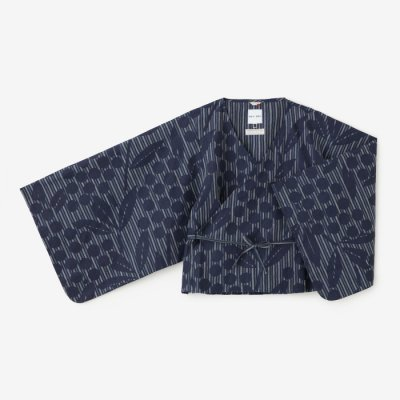 麻 小袖寛衣/南天 子持ち間道 紺青(こもちかんとう こんじょう)