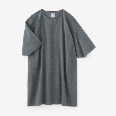 綿麻 高島縮 20/20 高島縮 薙刀長方形衣/鈍色(にびいろ)