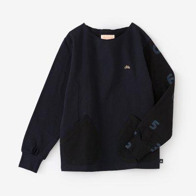 ミラノリブ ボートネックシャツ/深紺×SO-SU-U濡羽色