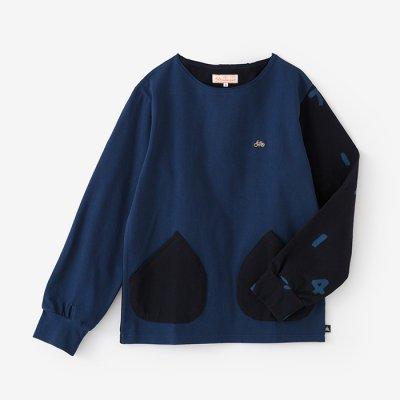 【net限定】ミラノリブ ボートネックシャツ/群青色(ぐんじょういろ)×SO-SU-U深紺