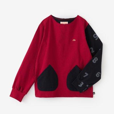 【net限定】ミラノリブ ボートネックシャツ/緋色(ひいろ)×SO-SU-U深紺