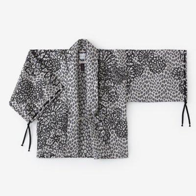 ジャカール 宮中袖 短衣 単(きゅうちゅうそで たんい ひとえ)/金襴緞子 黒銀斑(きんらんどんす くろぎんまだら)