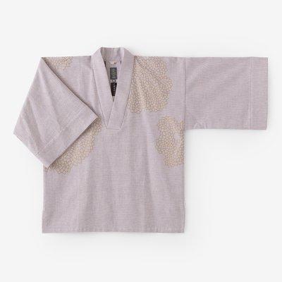 綿麻ドビー織 風靡 襯衣(ふうび しんい)首抜き文様/鴇浅葱 雲間に菊(ときあさぎ くもまにきく)