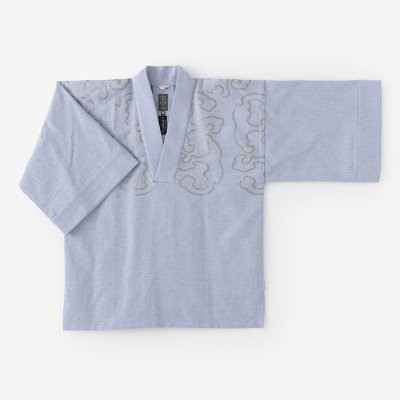 綿麻ドビー織 風靡 襯衣(ふうび しんい)首抜き文様/白花色 怒濤(しらはないろ どとう)