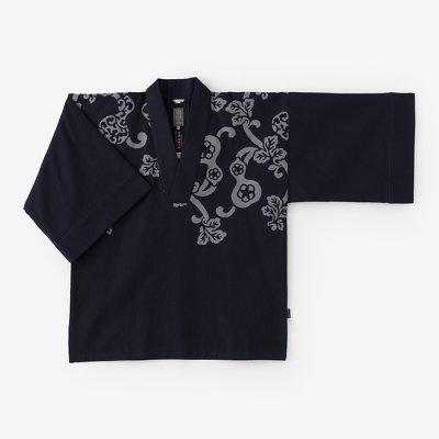 綿麻ドビー織 風靡 襯衣(ふうび しんい)首抜き文様/濃紺 ひさご