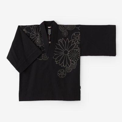 綿麻ドビー織 風靡 襯衣(ふうび しんい)首抜き文様/濡羽色 金襴緞子(ぬればいろ きんらんどんす)