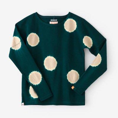 近清絞り 高密度ミラノリブ 型ぬき長袖Tシャツ/水玉絞り 深緑色×練色(しんりょくしょく×ねりいろ)