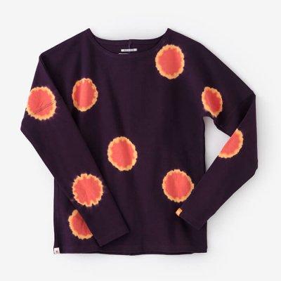 【net限定】近清絞り 高密度ミラノリブ 型ぬき長袖Tシャツ/水玉絞り 濃紫×京緋色(こきむらさき×きょうひいろ)