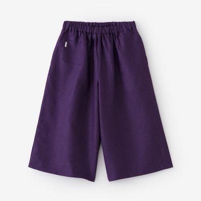 麻 広形(ひろなり)もんぺ はぎ丈/濃紫(こきむらさき)