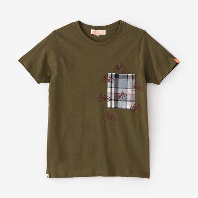 【net限定】半袖 ポケットTシャツ/海松色(みるいろ)×チャリンチャリン2