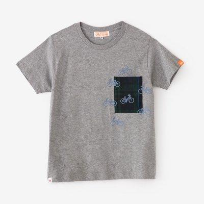 半袖 ポケットTシャツ/杢灰(もくはい)×チャリンチャリン2
