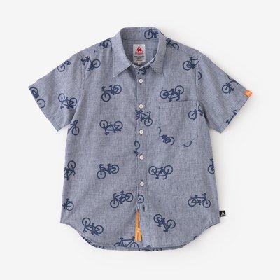 リネン×クールマックスシャンブレー 半袖シャツ/チャリンチャリンあっちこっち 杢紺(もくこん)