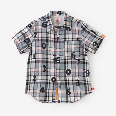 【予約10%OFF】リネン タータンチェック 半袖シャツ/SO-SU-U ライトブルー×エクリュ(※4月末発送予定)