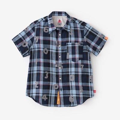 リネン タータンチェック 半袖シャツ/SO-SU-U ブルー×ライトブルー