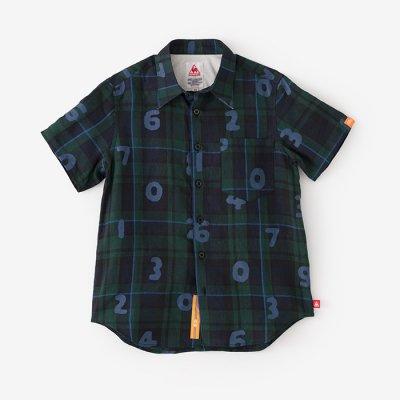 リネン タータンチェック 半袖シャツ/SO-SU-U グリーン×ネイビー