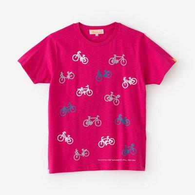 チャリンチャリン 三味 半袖Tシャツ/つつじ色