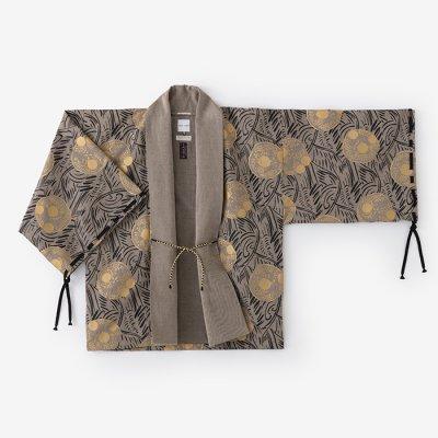 綿麻綾織 宮中袖 短衣 単(きゅうちゅうそで たんい ひとえ)/草紋 茶鼠(そうもん ちゃねず)