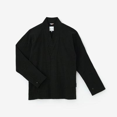 高島縮 筒袖襯衣(つつそでしんい)/濡羽色(ぬればいろ)