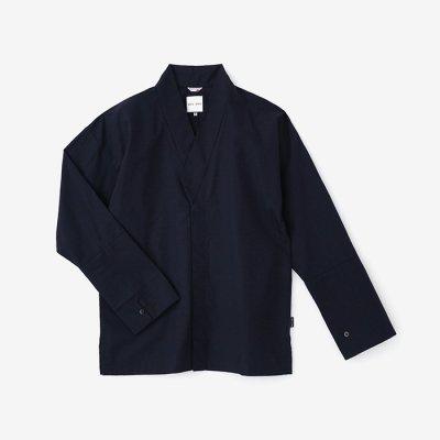 綿麻シャンブレー織 筒袖襯衣/深紺(しんこん)