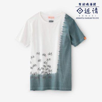 近清絞り 染め分け半袖Tシャツ/チャリンチャリン つくも×灰青(はいあお)