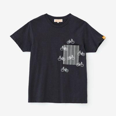 【net限定】半袖 ポケットTシャツ/濃紺(のうこん)×チャリンチャリン2