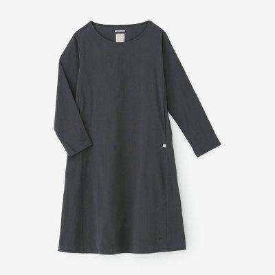 高島縮 長袖ワンピース/濃鉛(こいなまり)