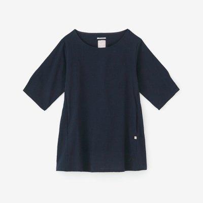 高島縮 六分袖チュニック/留紺(とめこん)