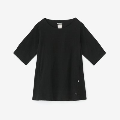 高島縮 六分袖チュニック/濡羽色(ぬればいろ)