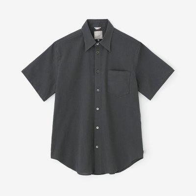 高島縮 半袖シャツ/濃鉛(こいなまり)