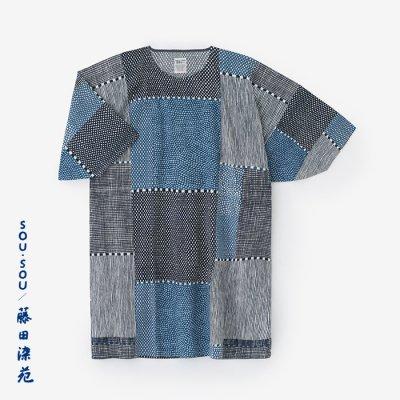高島縮 20/20 藍捺染 薙刀長方形衣/間がさね