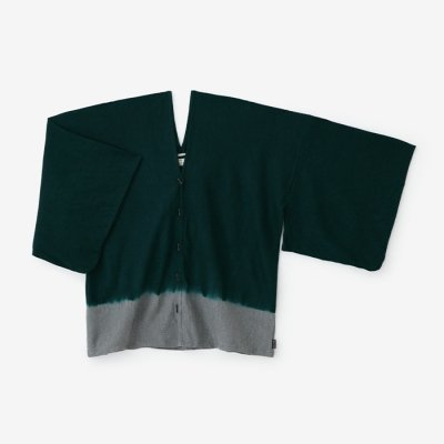 たばた絞り 梳毛 はつき/染め分け 深緑色×杢灰(そめわけ しんりょくしょく×もくはい)