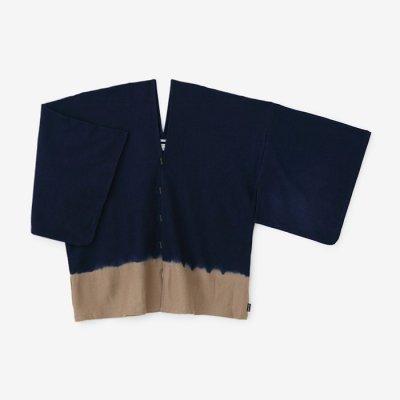 たばた絞り 梳毛 はつき/染め分け 青褐×狐色(そめわけ あおかち×きつねいろ)