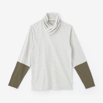 衿巻ジバン 違い袖/白練杢×根岸色(しろねりもく×ねぎしいろ)